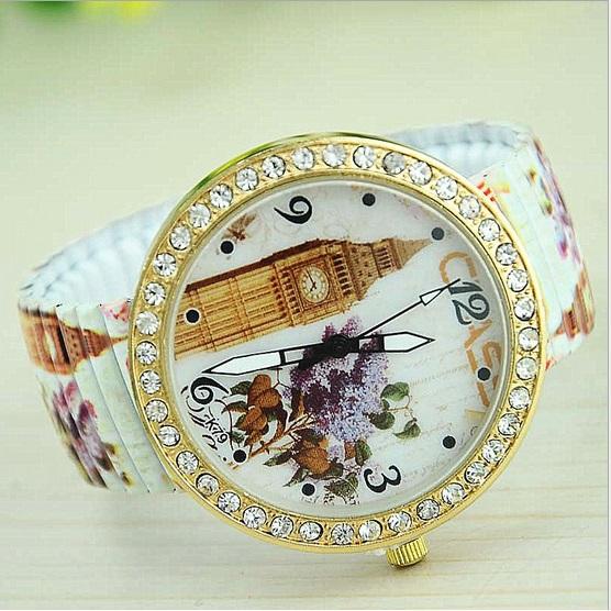 High Quality Printed Stainless Bracelet watch London watch casual Vintage Flowers Lavender Quartz wristwatch Rhinestone Watch<br><br>Aliexpress