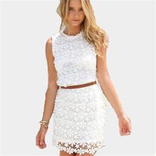 3 Colors 2016 New European O neck Sleeveless Lace Patchwork Mini Tank Dress Women Summer Slim