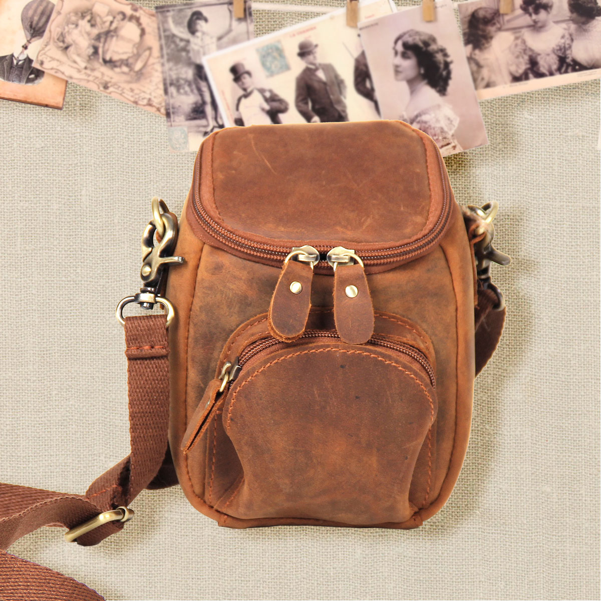 Miss ka genuine leather cowhide vintage handmade fashion personalized camera bag one shoulder cross-body female small waist pack(China (Mainland))