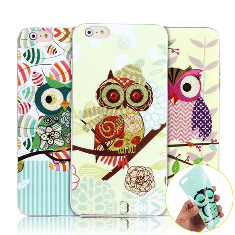 """Cute Owl Soft TPU Gel Case for Apple iPhone 6 PLUS / 6s PLUS 6+ 5.5"""" HOT Owls Animal Flowers Silicon Phone ShockProof Cover Case(China (Mainland))"""