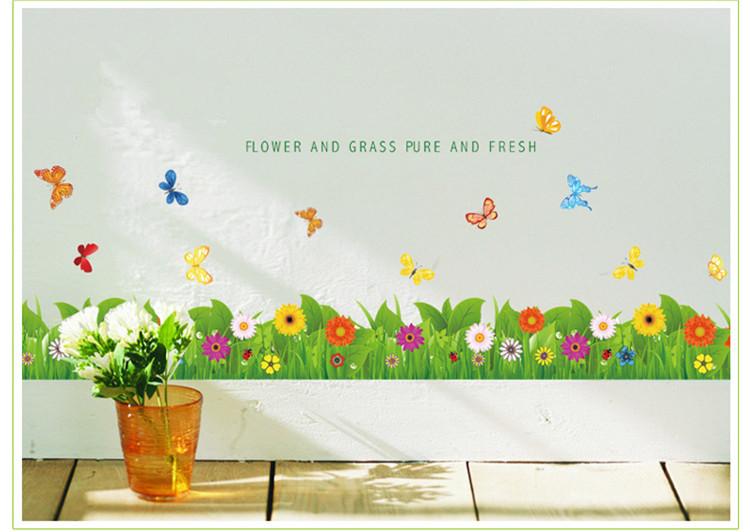 Decoratie Badkamer Muur : Cartoon Houses with Grass and Flowers