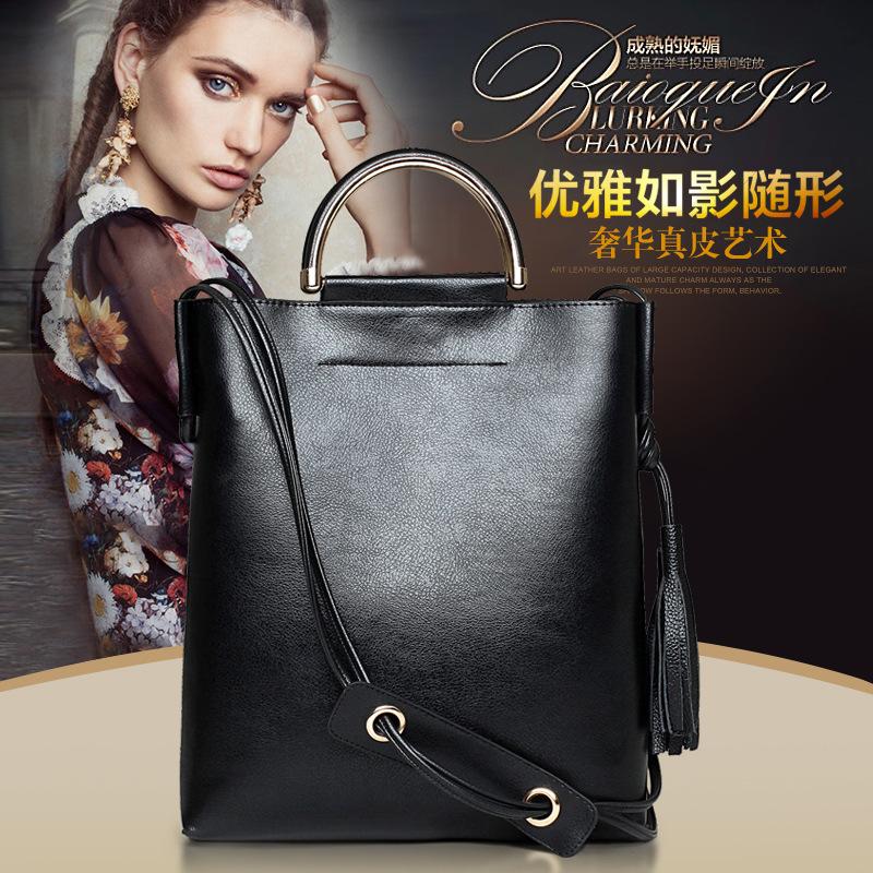 new bucket bags women 2016 fashion handbag solid color messenger bag crossbody handbag tassel genuine leather