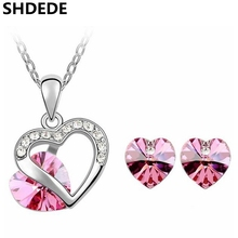 Buy Austrian Crystal Heart Pendant Necklace Earrings Stud Crystal Swarovski Exquisite Jewelry Sets Women 4351 for $7.36 in AliExpress store