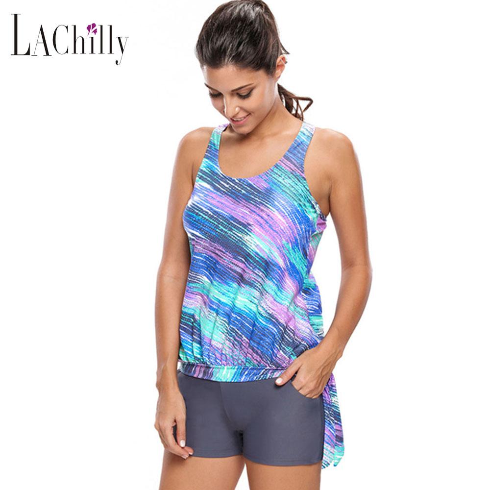 lachilly 2017 bikinis donne sexy donne dello swimwear plus size costume da bagno lc41975 blouson tankini