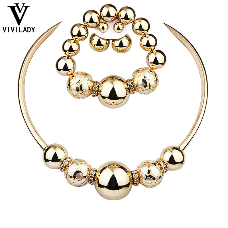 viviLady Fashion Jewelry Sets Women Gold Plated Necklace Earrings Bracelet African Imitation Pearl Beads Statement Bijoux Gifts - ViviLady store