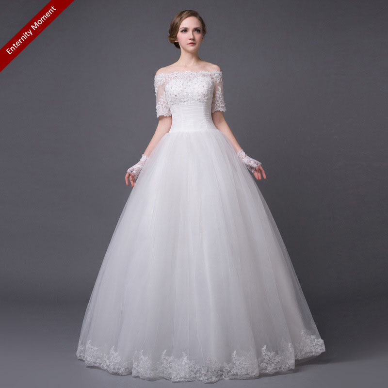 Lace white wedding dress elegant bridal wedding gown for White elegant wedding dresses
