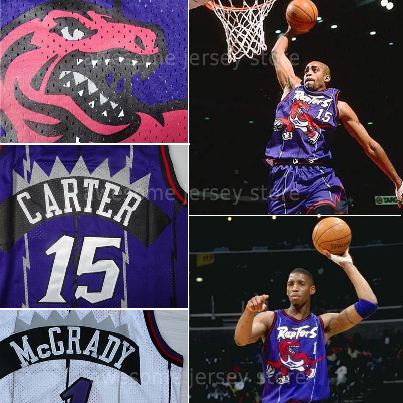 Top quality 1# Tracy Mcgrady 15# Vince Carter Raptors Jersey Purple white Shirt Black Retro basket homme jerseys mesh s-xxl(China (Mainland))