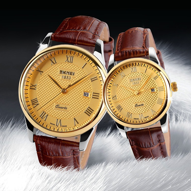 SKMEI Top Luxury Brand Mens Quartz Watch 30m Waterproof Genuine Leather Strap Calendar Watches Men Classic