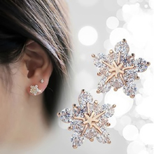 Buy 1 Pair Gold Color Crystal Snowflake Stud Earring Women Girls Flower Ear Stud Piercing Jewelry Accessories Gifts for $1.70 in AliExpress store