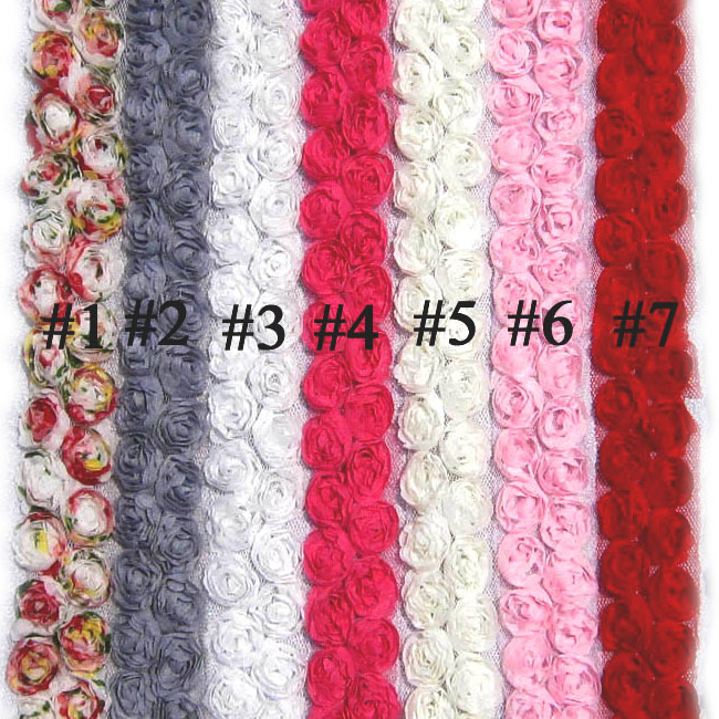 3D Rose Flower Trims, 11 Colors 30MM Frayed Chiffon Rose Trim, Baby Hair Accessories Flower Trim(China (Mainland))