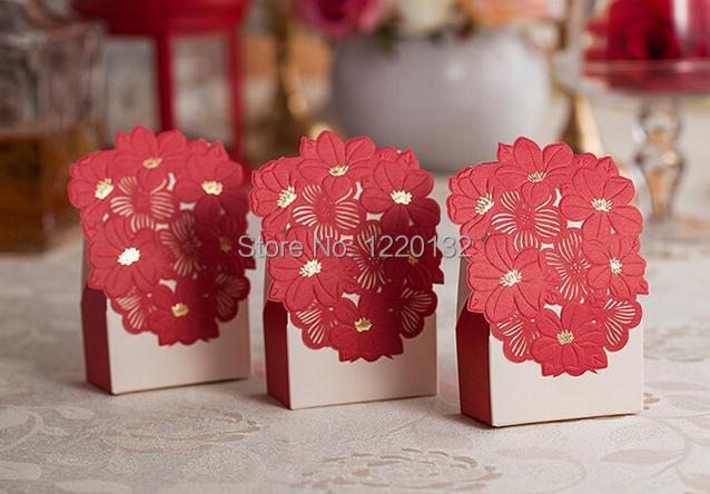 Free shipping,20pcs/lot, Red Flower Candy Box,Wedding Favor Paper Box, Gold Foil,Laser Process(China (Mainland))