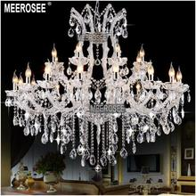 24 Lights Massive White Chandeliers Crystal Clear Vintage chrystal chandelier Hotel Lighting Pendelleuchte lamp for Home decor(China (Mainland))