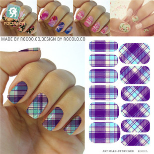 KG007A Water Transfer Foils Nail Art Sticker Minx Manicure Decoration Tools Purple Design Nail Wraps Nail Polish Stickers(China (Mainland))