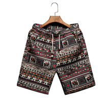 Men's beach shorts personality printing 2016 summer thin section breathable comfort casual men's linen shorts large size M-5XL(China (Mainland))