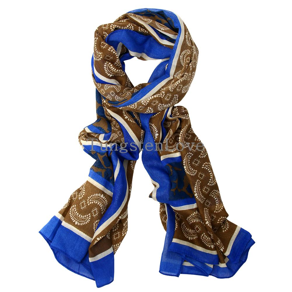 180cm Simple & Classic Lightweight Paisley Design Blue Pashmina Scarf Shawl Wrap Scarves for Women Girls Lady Gifts(China (Mainland))