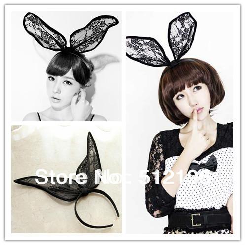 AHO051, Free Shipping! 15 pcs/lot, Limited Edition Black Lace Bunny Girl Headband Bunny Ear Head Band(China (Mainland))