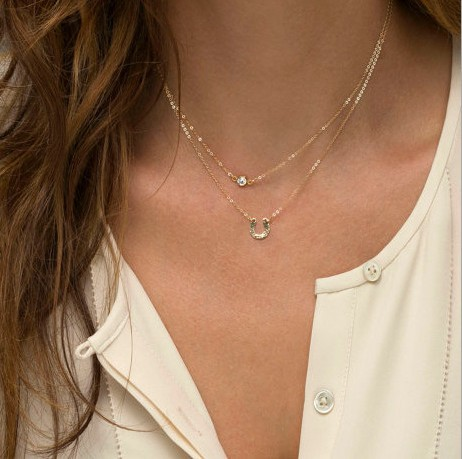 New Colar Colares Vintage Casual Collar 18K Gold Chains Punk Letter Necklaces Pendants For Women Jewelry