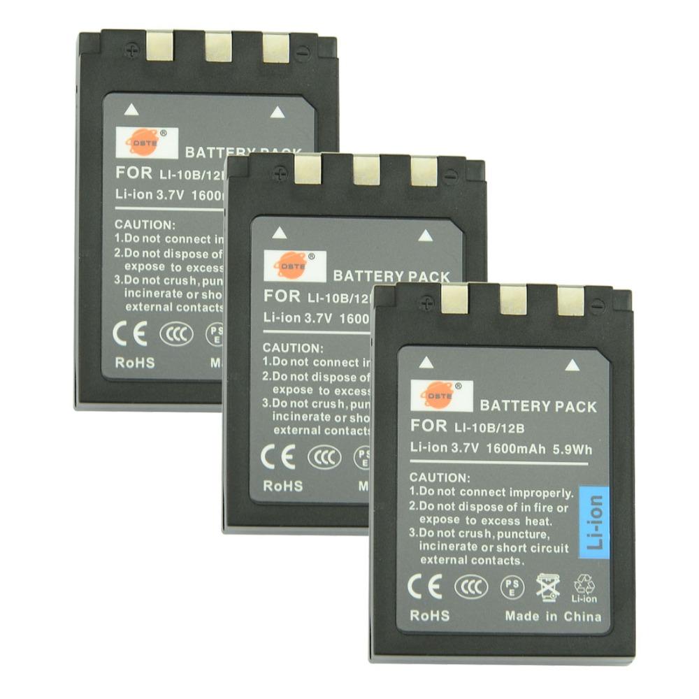 DSTE 3 Pcs 1600 mAh LI-10B Rechargeable Battery For Olympus C-470ZOOM C-5000ZOOM IR-500 Stylus 1000 SANYO DSC-AZ3