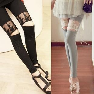 Free Shipping by HK POST Mixed lot Sexy New Embroidery lace knee leggings open smile pantyhose tight