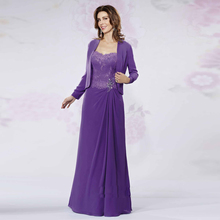 Modest 2017 Mother bride dresses Jacket line Chiffon Lace dress Custom made Bead Long Evening party gown hu - cooya store