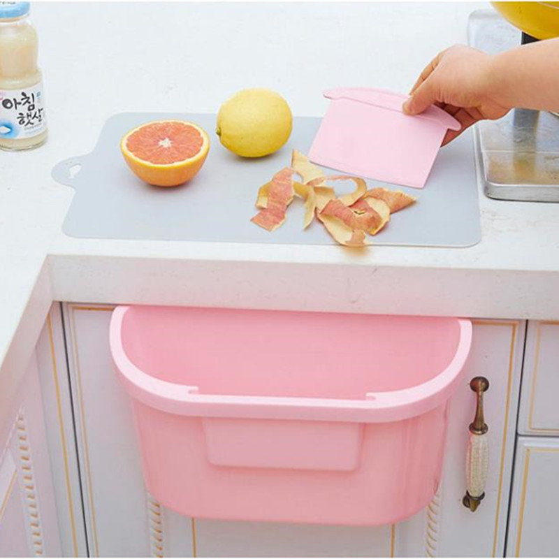 Portable Home Kitchen Cabinet Trash Storage Box Organizers Garbage Holder With Cleaning Scraper(China (Mainland))