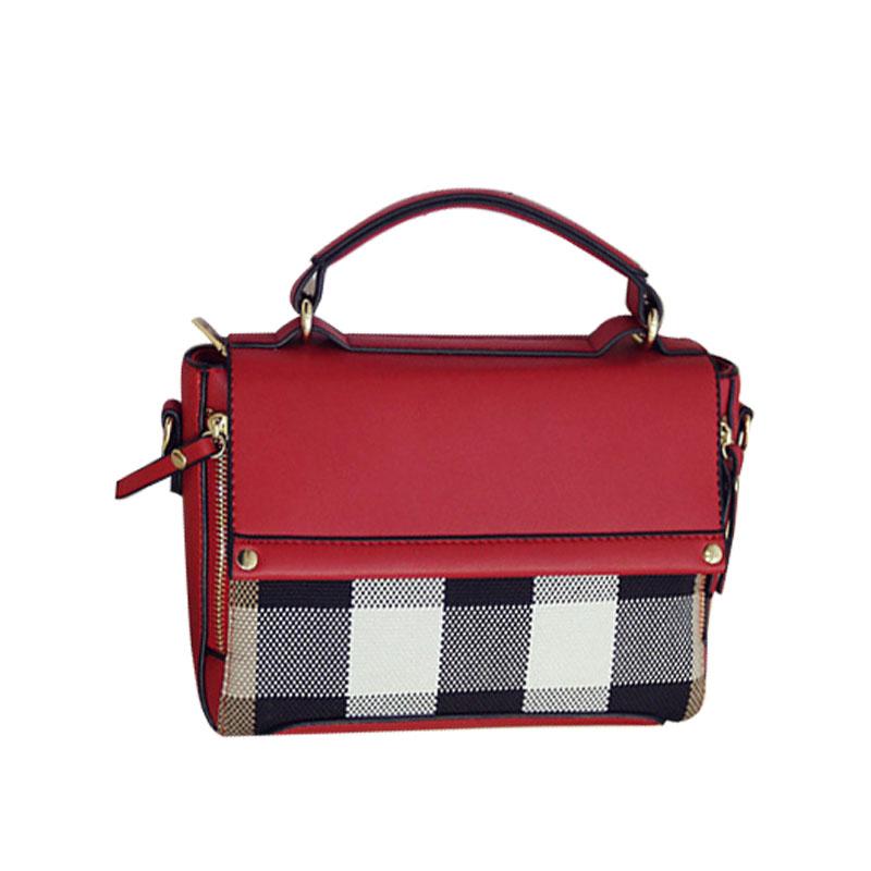 New 2016 Vintage European Style Women Crossbody Bag Retro Simple Plaid Women Shoulder Bag Rivet Women Handbags Messenger Bag(China (Mainland))