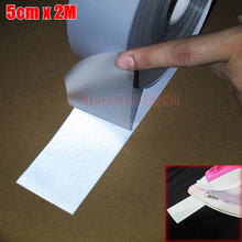 """5cmx2M Gray Color Safety Silver Reflective Tape Fabric Material Iron On Heat Transfer Strip High Visibility 2"""" x 6.6ft CP00(China (Mainland))"""