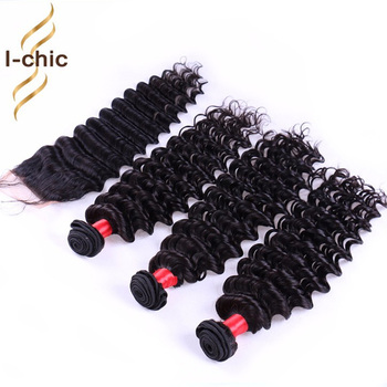 6A Cheap Brazilian Deep Wave Virgin Hair With Closure 3 Or 4 bundles Deep Curly With Closure Remy Human Hair weave with Closure