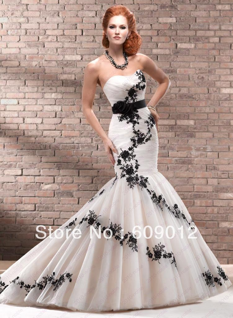mermaid real sample black and white wedding dress in wedding dresses