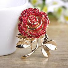 Kristal Bunga Rose Bros untuk Wanita Klasik Mujer Rosa Brocade Warna Emas Daun Perhiasan Cinta Merah Bijoux Ibu hadiah Hari(China)