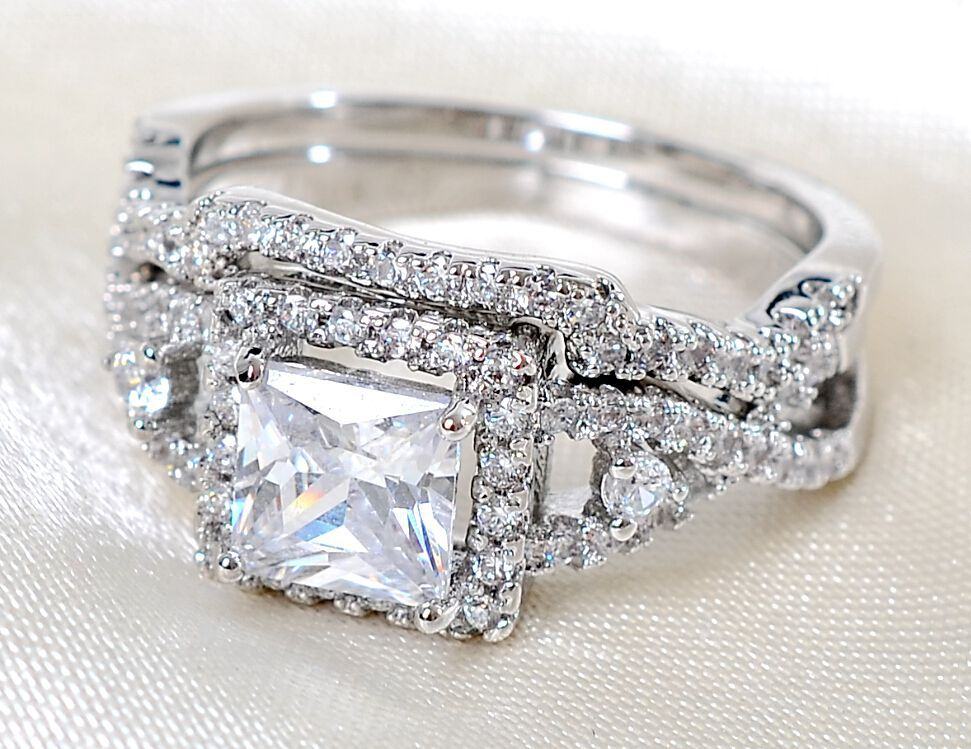 Size5 11 Luxury Lady Engagement Ring set square cut white sapphire 925 sterli