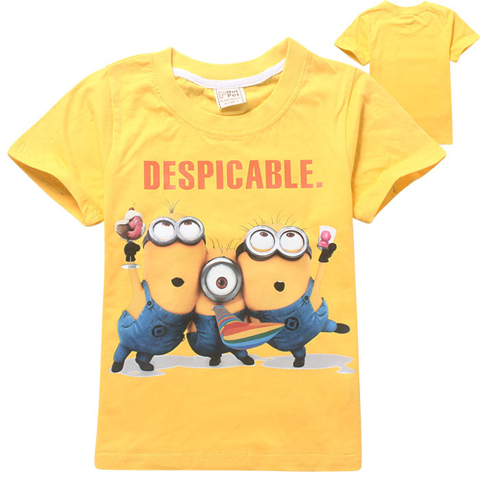2015 New Summer Boys minion T-shirt Despicable Me Tops Tees Baby Short Tshirt Kids Printed T-shirts Children Cartoon Clothing(China (Mainland))