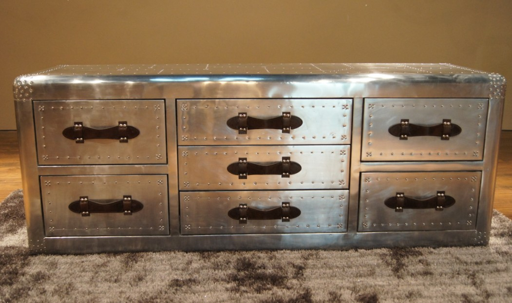 Vintage furniture fashion metal quality space aluminum tv cabinet multi drawer cabinet rivet