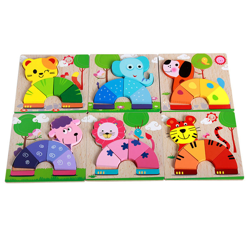 Free shipping Cartoon animal models puzzle/children's wooden 3D puzzle assembled preschool educational puzzles toys one piece(China (Mainland))