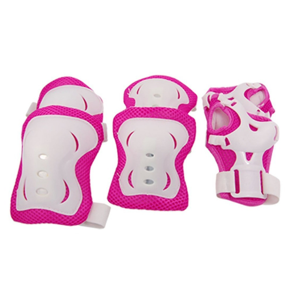 1 Set Children Fuchsia White Knee Palm And Elbow Protective Pads Support Child(China (Mainland))
