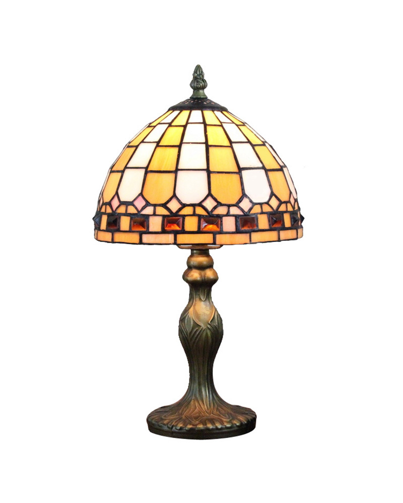 Ems free ship table lamps antique tiffany yellow glass for Mediterranean lighting fixtures