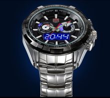 Brand TVG Men Full Steel Watches LED Digital Quartz Chronograph Watch 50m Waterproof Dive Sports Military Watches relojes hombre(China (Mainland))