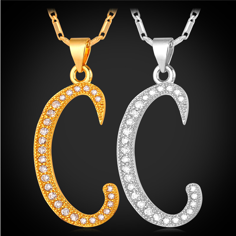 Initial C Letter Pendants & Necklaces Women/Men Personalized Gift Alphabet Jewelry Platinum/18K Real Gold Plated Necklace P1673(China (Mainland))