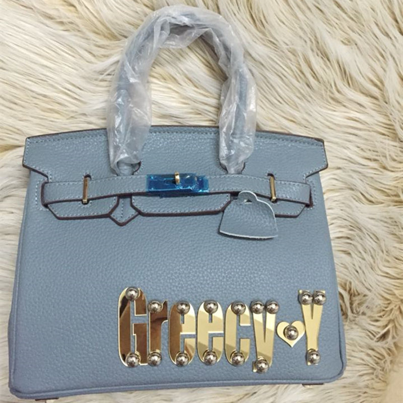 Fashion Genuine Leather Brand Name Bags Fun Bags Customized with Personal Name 3 Sizes 13 Colours(China (Mainland))