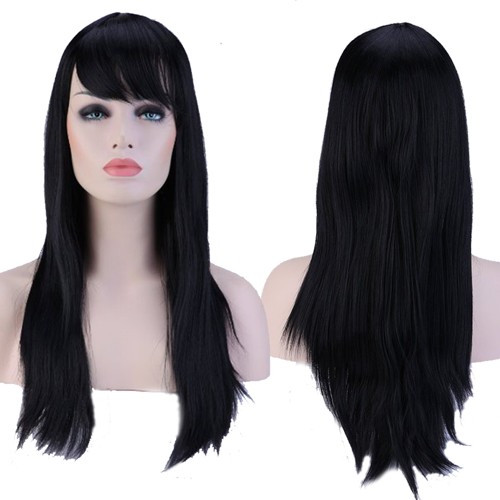 Full Head Wigs 60cm Long Straight Fashion Natural Black Hair Wig with Oblique Bangs for Women High Heat Resistant TW067(China (Mainland))