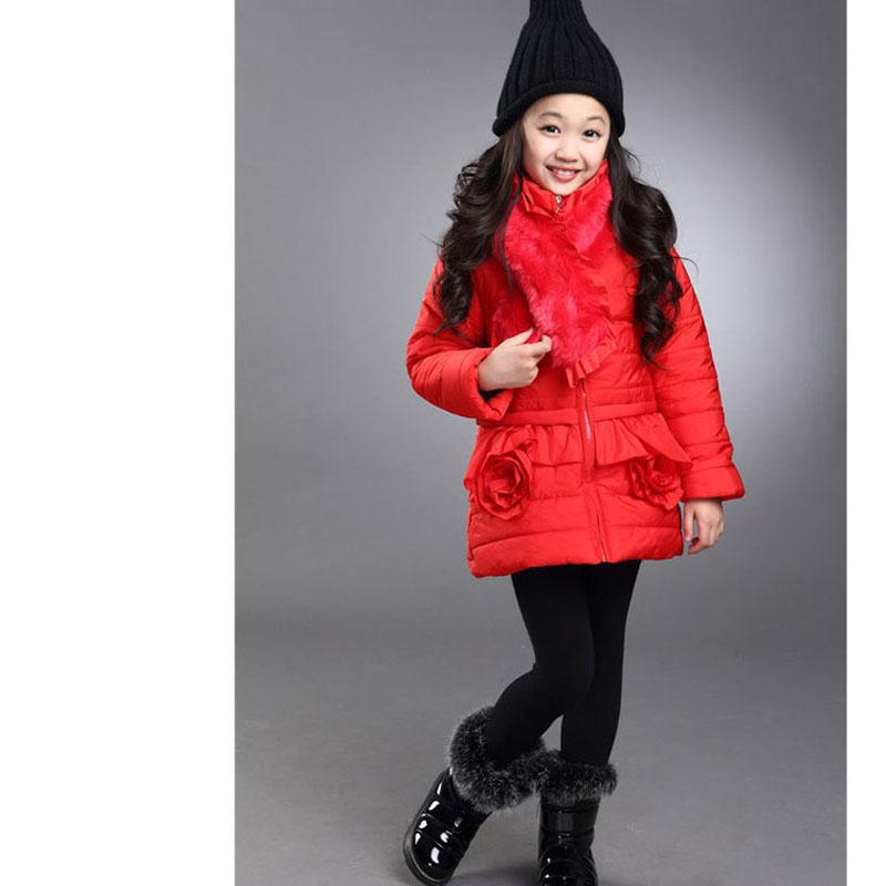 FLY KIDS children clothing 2015 autumn winter coat girls thick fur collar jacket wild flowers kids outerwear FK483
