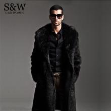 2015 Winter Fashion Mens Eco-friendly Faux Fur Coat Jackets Full Length Parka Coats Windbreaker Plue Size XXXL 4XL Men Overcoat(China (Mainland))