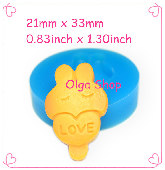 QYL242 LOVE Bunny Rabbit Cookie Mold Christmas Cookie Biscuit Silicone Mold 33mm - Fake Sweet Marshmallow Molds, Fimo Mould(China (Mainland))
