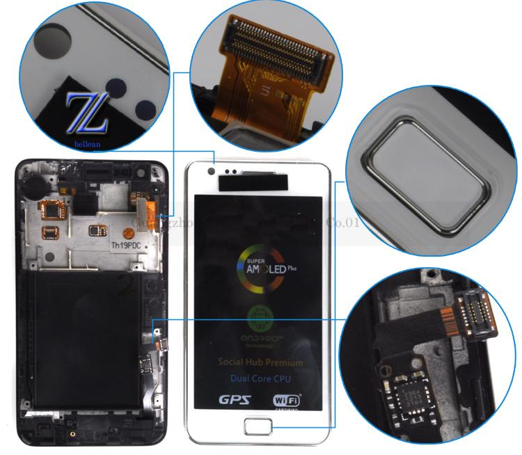 s2 lcd for samsung galaxy i9100 lcd with touch with frame assembly color black or white 1pcs free shipping china post +tools(China (Mainland))