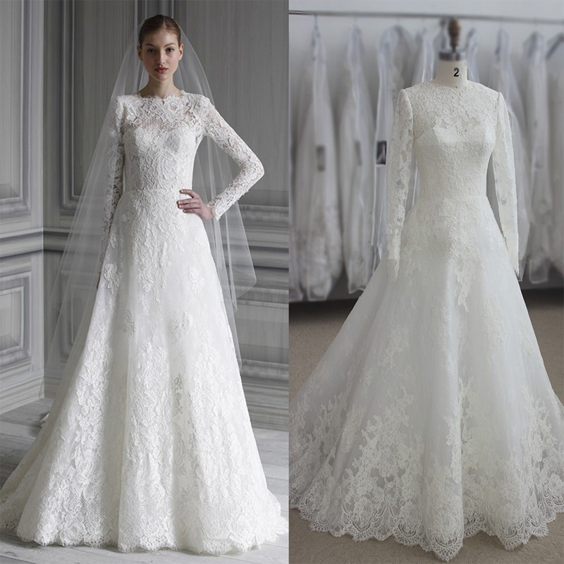 Simple Vintage Lace Wedding Dress : Vintage lace long sleeve muslim wedding dress real photo