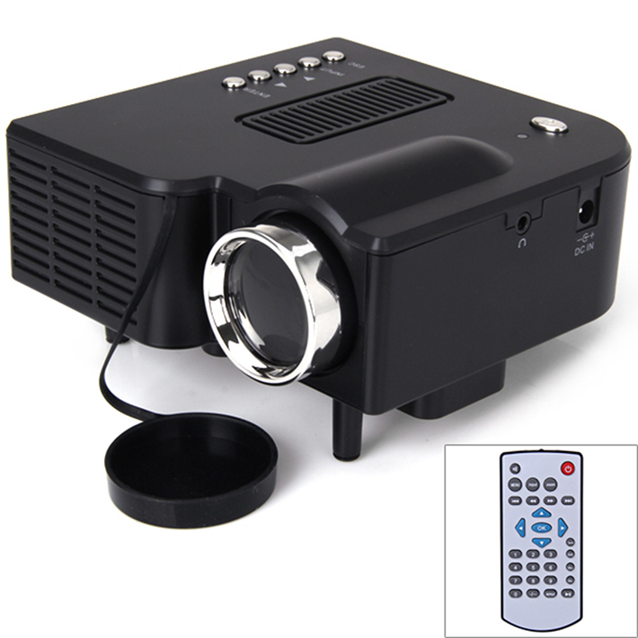 Black uc28 mini projector with hdmi vga av usb sd led for Hdmi mini projector reviews