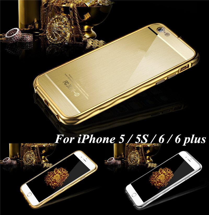Hand- Shape Design Mirror Gold Phone Cases Covers For iPhone 5 5s 6 6 plus Case 4.7 or 5.5 inch Luxury Metal Aluminum Hard Cover(China (Mainland))