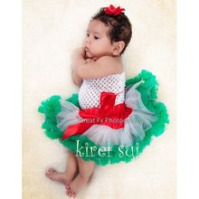 Newborn Infant Baby Girls Pettiskirt Tutu Skirt 0-6M - Christmas Red White Green(Hong Kong)