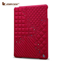 Jisoncase Luxury Leather Case For iPad 2 3 4 Fashion Design Slim Stand Cover With Embroidery And Bling Diamond(China (Mainland))