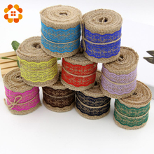 Buy 2M DIY Cotton Lace Ribbon Sewing Tape Natural Jute Hessian Roll Burlap Trims Tape Rustic Wedding Party Decor Craft for $2.26 in AliExpress store